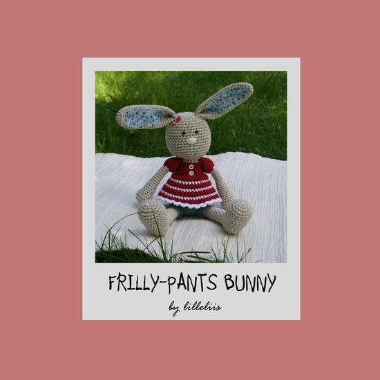 """Frilly-pants Bunny, crochet amigurumi toy. $6.50"" #Amigurumi  #crochet"