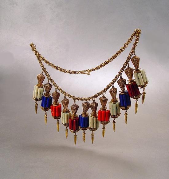 Vintage Miriam Haskell Fringe Charm Necklace