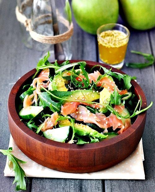 A big serving bowl of Smoked Salmon, Avocado and Rocket (Arugula) Salad