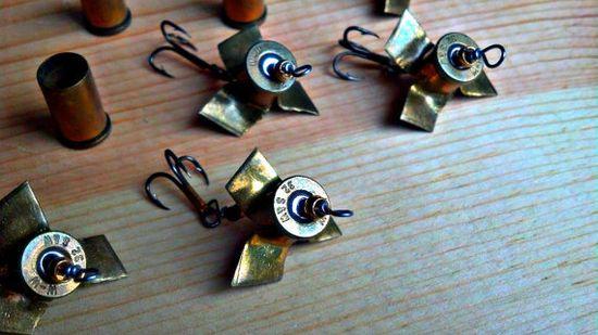 Hand made bullet casing spinner fishing lure. via Etsy