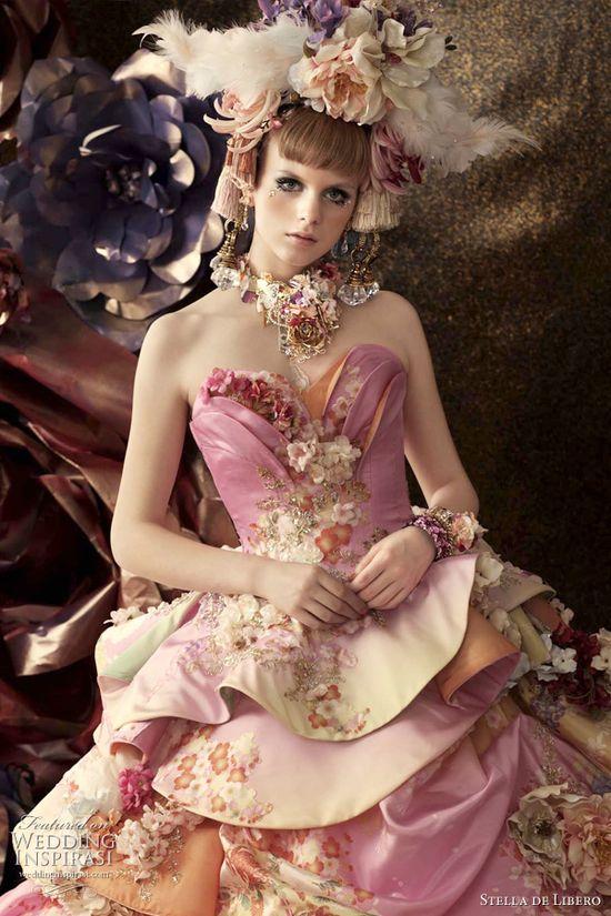 Bridal Pink - pink wedding dress; pink floral print wedding dress; tiered peplum skirt; Oriental style wedding dress