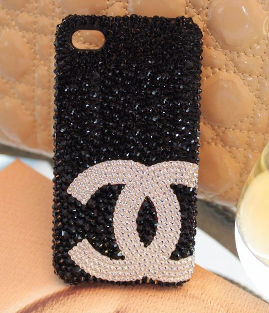 Handmade Black Swarovski Crystals Chanel Symbol iPhone case Bling CHANEL iPhone 5 Case black iPhone 4 case iPhone 4s case Phone Case