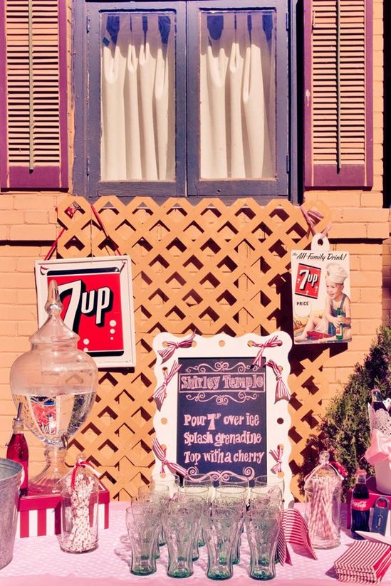 Shirley Temple drink station at a Shirley Temple Birthday Party with REALLY CUTE IDEAS via Kara's Party Ideas