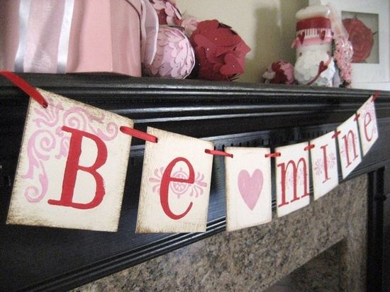 Valentine Decoration BE MINE Red and Pink by bekahjennings on Etsy, $15.00