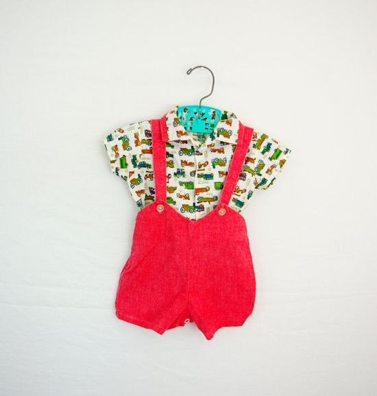 Vintage baby boy short outfit.