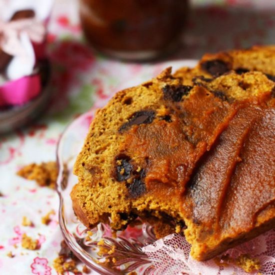 Pumpkin Chocolate Chip Bread by shape:  Decadent, moist, and full of spices. #Bread #Pumpkin #Chocolate_Chip