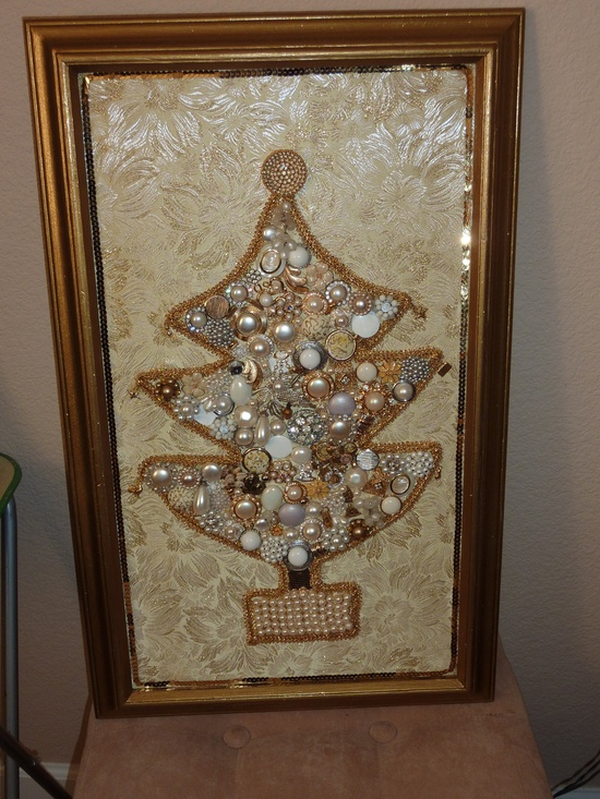 Beautiful Glitzy Framed Christmas Jewelry Tree 1950s Earrings Pearls, Crystals, Rhinestones, Gold Newly Assembled. $186.00, via Etsy.