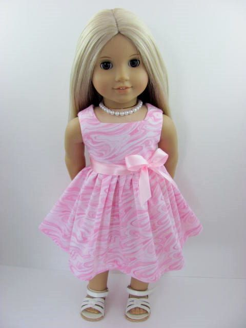Pink Marble Doll Dress for the American Girl Doll