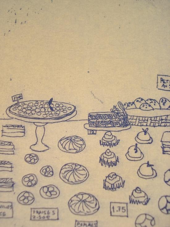 Cake shop Paris postcard etching.