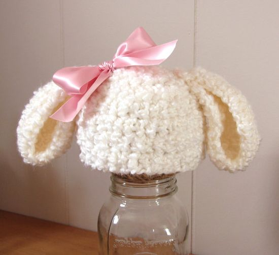 Bunny (or lamb) hat with detachable bow!!!! Yes!