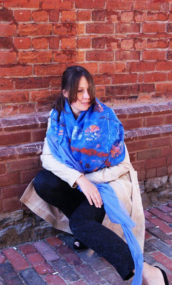 Blue Scarf Blue Shawl Blue Wool Shawl Blue Wrap by elenasfelting, $110.00