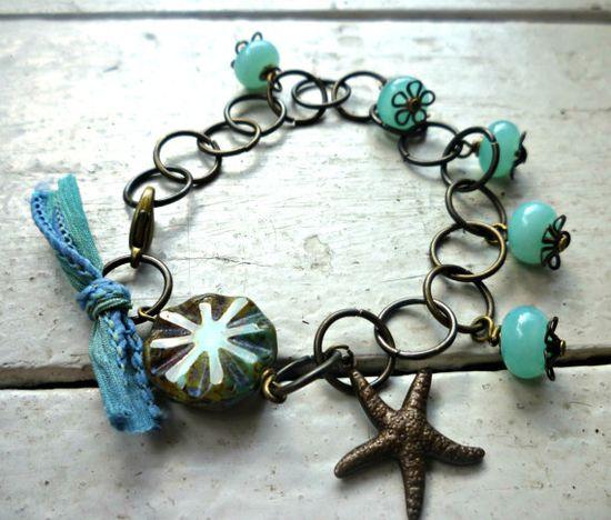 Starfish Beach Bracelet Tiffany blue by McKeeJewelryDesigns