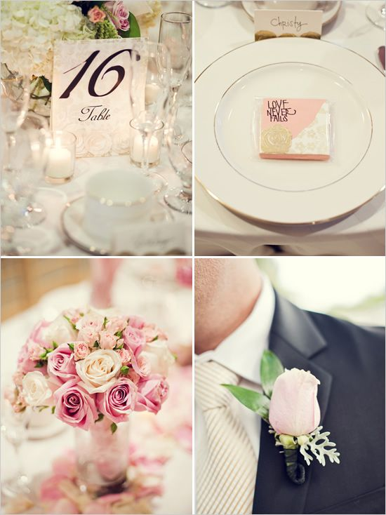 Soft pink wedding details