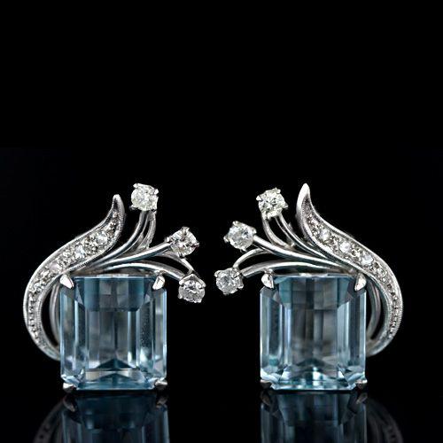 1950s Aquamarine and Diamond Ear Clips