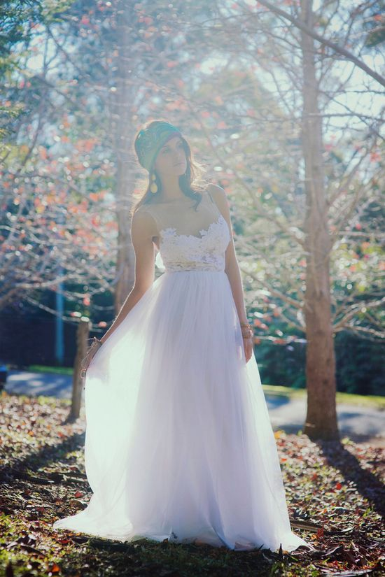 Stunning white lace and soft tulle wedding dress so unique and beautiful. $999.00, via Etsy.