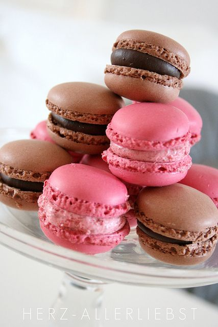 All that's missing is vanilla ;D Chocolate and Strawberry Macarons. #chocolate #strawberry #pink #brown #macarons #food #cooking #baking #cookies #dessert #French #pastry