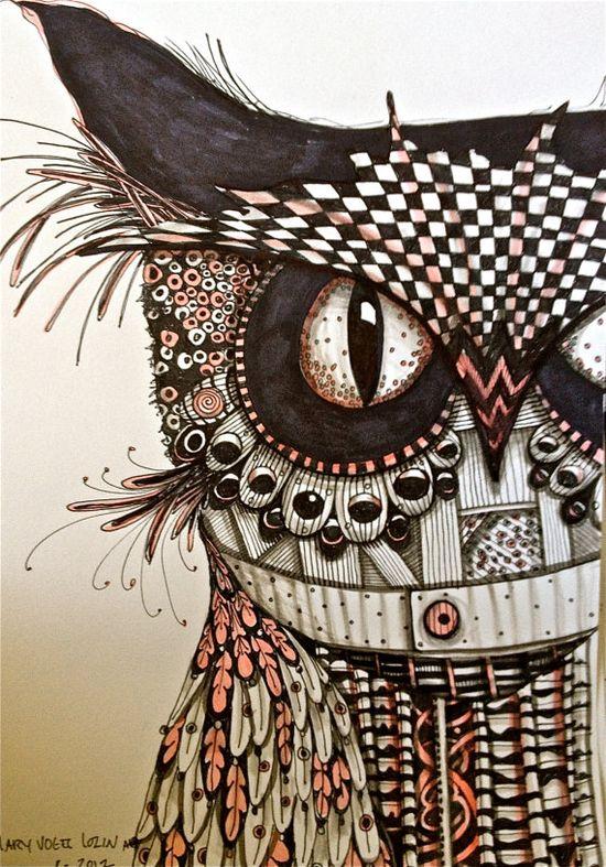 Ink drawing owl art