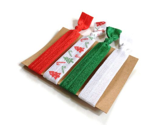 Christmas Elastic Hair Ties Red White and Green by MadebyMegToo, $5.00