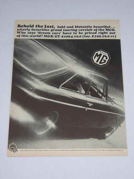 =-=Original MGB GT Advert from 1967 - MG Sports Car Ad Advertisement Classic