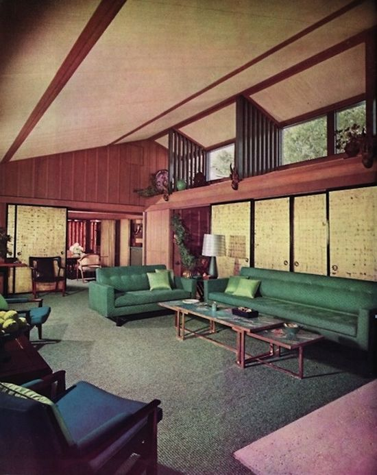 Retro midcentury modern interior design decor