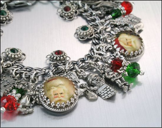 Christmas Jewelry Silver Charm Bracelet Santa by BlackberryDesigns, $87.00
