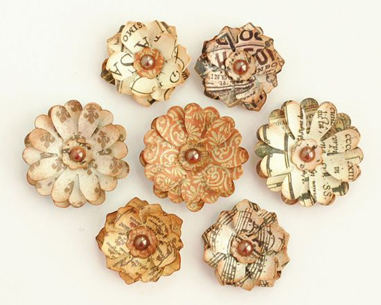 Vintage Charm Layered Handmade PAPER FLOWERS - Qty 7