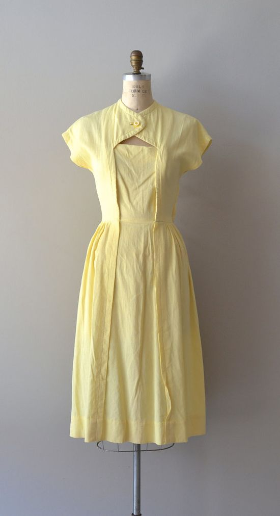 vintage 1940s dress / cotton 40s dress / Cheerful by DearGolden, $132.00