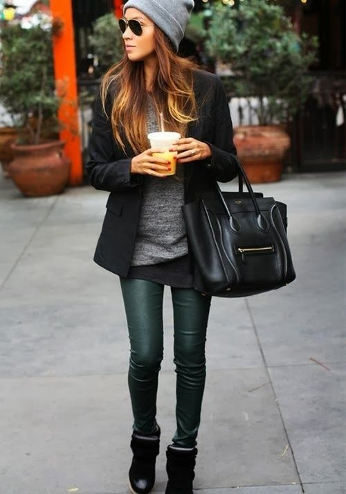 Fall Fashion: Get the Look - Leather and Gray