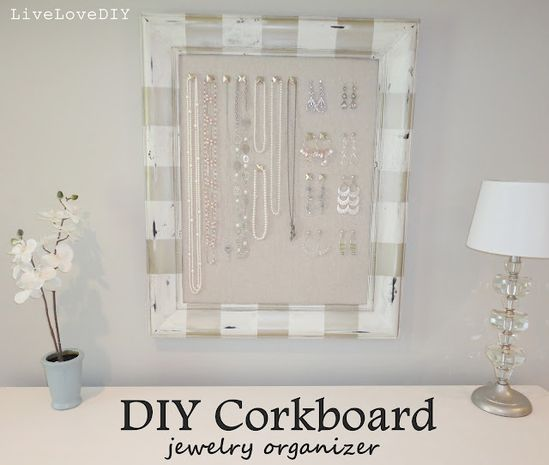 DIY Framed Cork Board Jewelry Organizer