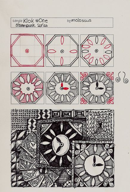 Klok#One-tangle pattern by molossus, who says Life Imitates Doodles, via Flickr