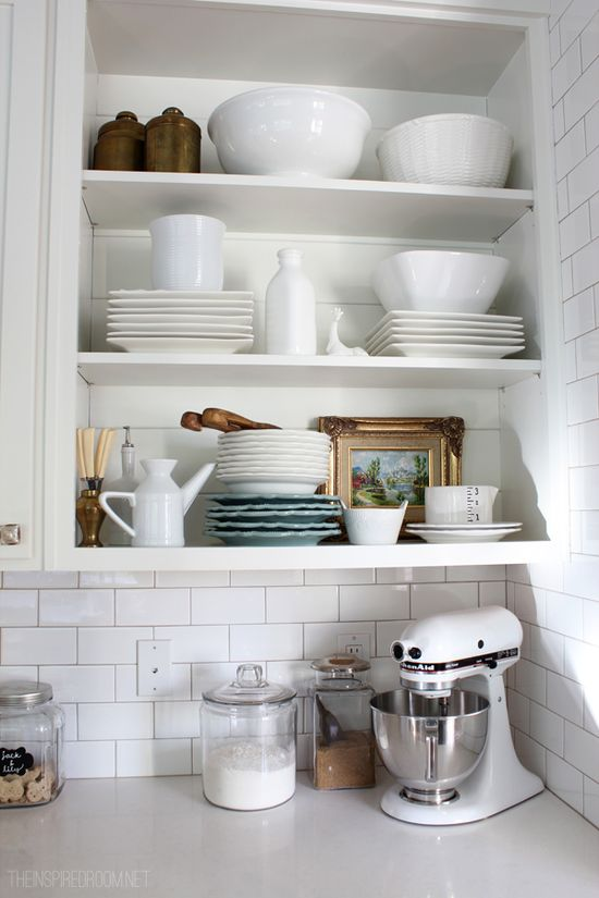 Use open shelves with dishes