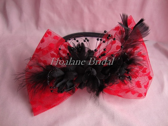 cute red and black headband fascinator with feathers #weddings #valentines #prom