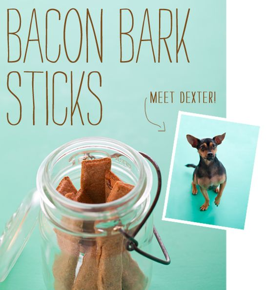 Homemade pet treats - Bacon sticks.