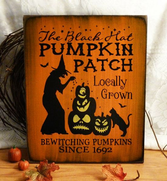 Halloween  Sign The Black Hat Pumpkin Patch Painted Wood Sign