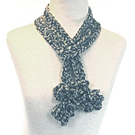 Sophisticated Gray Crochet Scarf - Soft Ruffled Charcoal Merino Wool.