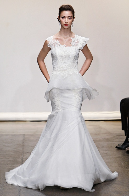 "Wedding dress from Ines Di Santo with removable peplum. Click to see the dress ""transformed""!"