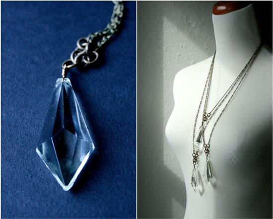 geometric prism pendant. vintage necklace by baltica #vintage #jewelry #repurposed