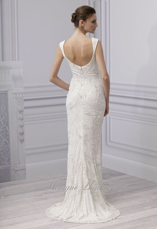 """monique lhuillier - wedding dress - bridal - collection - spring 2013 - luxe - silk white embroidered chiffon scoop neck sheath, 2"""" silk white embroidered bow belt"""
