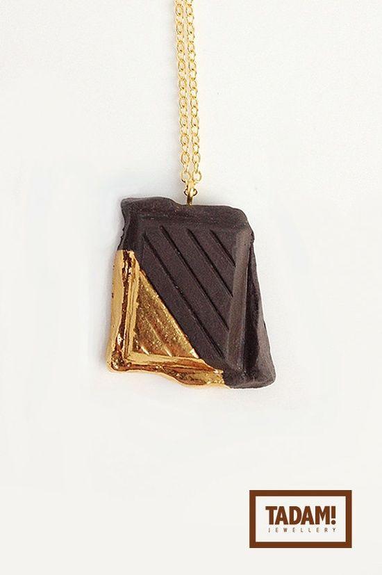 Dark Chocolate in Golden Glaze  quality handmade by TADAMjewellery, #best friend #best friend memory