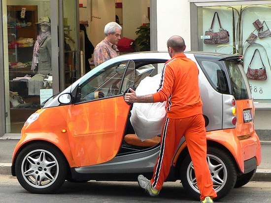 Orange shirt, orange pants, orange car...