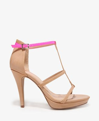 Neon Strap Platform Sandals #HighHeels #Neon