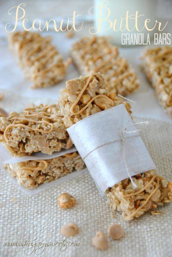 Peanut Butter Granola Bars- make your own delicious snacks for lunches or on the go! #granolabars #peanutbutter www.shugarysweets...