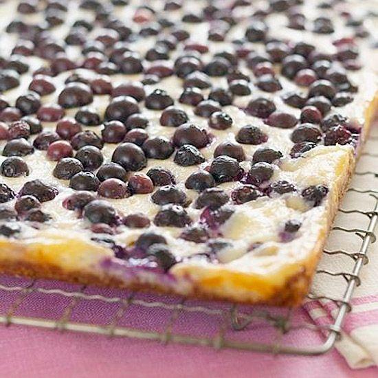 Creamy cheesecake, sweet coconut, and tart blueberries? Yum!