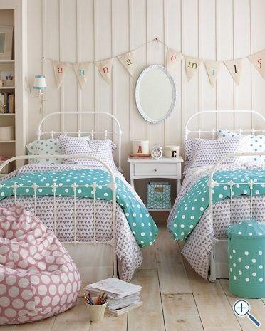 Twin girls room Love the bunting idea