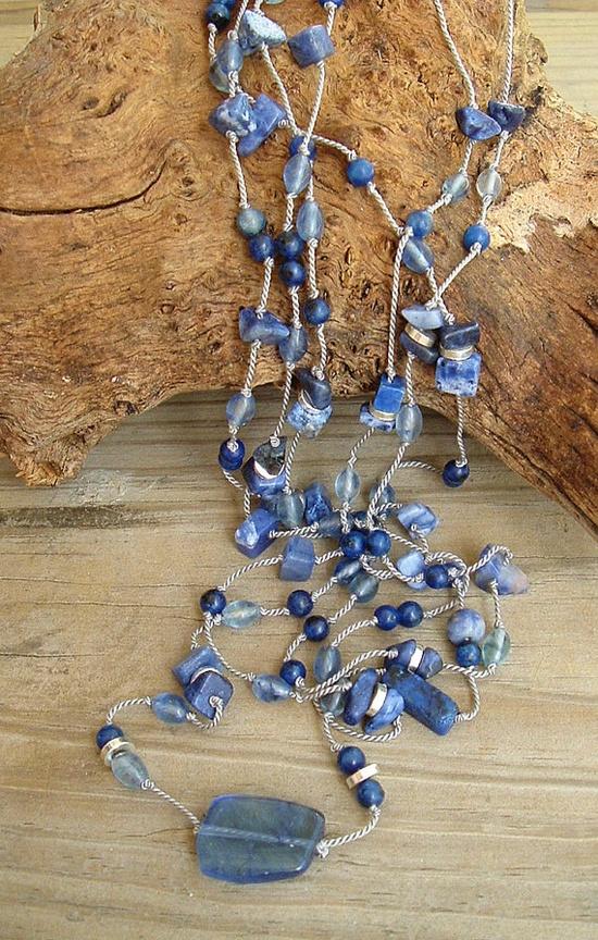 Boho Blue Necklace Layered Gemstone Necklace Hand by BohoStyleMe