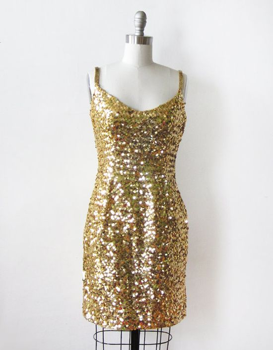 vintage gold sequin dress