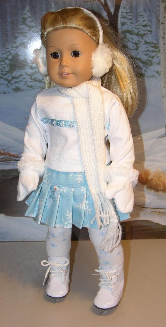 Ice Skating Skirt ensemble for American Girl doll with skates - Winter Wonderland