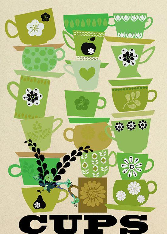 Cute cups print