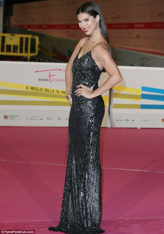 Deviously delicious! Roselyn Sanchez looked stunning in a black sequinned gown as she posed at the Roma Fiction Festival in Italy on Monday ...
