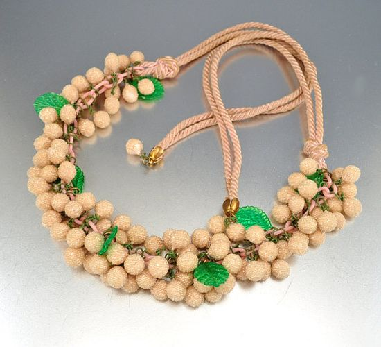 Celluloid Art Deco Necklace Sugar Glass Beads Bib by boylerpf, $85.00